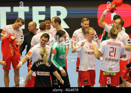 Herning, Denmark. 27th Jan, 2019. Celebration. Victory Denmark during the IHF Men's World Championship 2019, final round handball match between Norway and Denmark on January 27, 2019 at Jyske Bank Boxen in Herning, Denmark - Photo Laurent Lairys/DPPI Credit: Laurent Lairys/Agence Locevaphotos/Alamy Live News - Stock Photo
