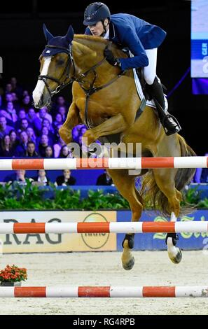 Show Jumping : Jumping Amsterdam 2019 - Longines FEI Jumping World Cup Daniel Deusser (GER) with Tabago Z. 3rd place of the World Cup Jumping on January 27, 2019 in Amsterdam, Holland. Credit: Margarita Bouma/SCS/AFLO/Alamy Live News - Stock Photo