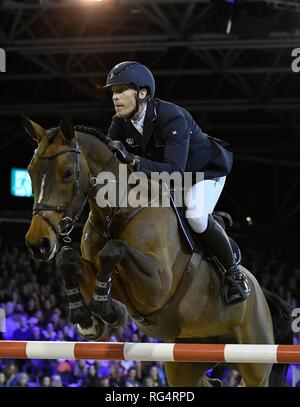 Show Jumping : Jumping Amsterdam 2019 - Longines FEI Jumping World Cup Henrik Eckermann (SWE) with Toveks Mary Lou. Winner of the World Cup Jumping on January 27, 2019 in Amsterdam, Holland. Credit: Margarita Bouma/SCS/AFLO/Alamy Live News - Stock Photo