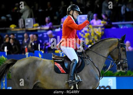 Show Jumping : Jumping Amsterdam 2019 - Longines FEI Jumping World Cup Pius Schwizer with Courtney Cox. 2th place of the World Cup Jumping on January 27, 2019 in Amsterdam, Holland. Credit: Margarita Bouma/SCS/AFLO/Alamy Live News - Stock Photo