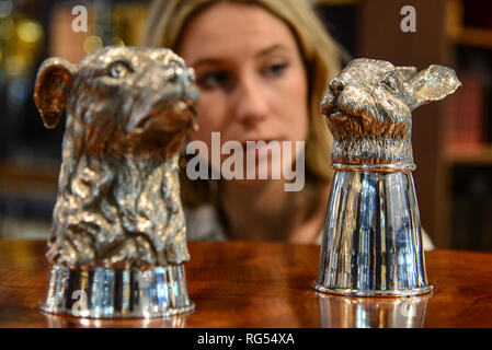 London,UK. 28th Jan 2019. Silver stirrup cups   estimate £ 1,500 - 2,000, part of the  annual gentleman's library sale at Bonhams Montpelier Street, Knightsbridge being held on 30th January 2019.  Credit: Claire Doherty/Alamy Live News - Stock Photo