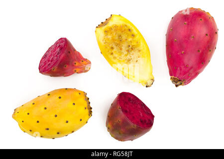 red end yellow prickly pear or opuntia isolated on a white background. Top view. Flat lay. - Stock Photo