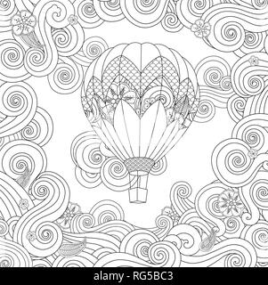 hot air balloon in zentangle inspired doodle style isolated on white. Coloring book page for adult and older children. - Stock Photo