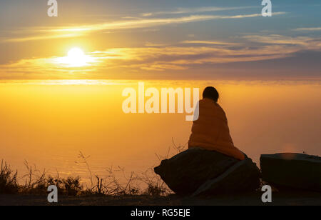 Sunset at our camp site in Los Padres National Forest near Highway 1 - California, USA - Stock Photo