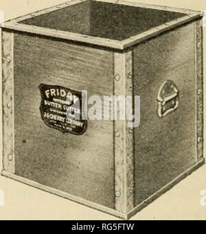 . The butter industry, prepared for the use of creameries, dairy students and pure food departments. Butter. Fig-. 74. Priday Box Pig-. 73. Priday Printer Courtesy J. G. Cherry Co. age is the one pound print of the following standard dimensions: 2^ X 2^ X 4^ inches, wrapped in parchment, or wax paper, or both and slipped into a carton. Some creameries wrap an additional paper around the carton and seal it at both ends. Considerable quantities of butter are sold in one-half pound and one-quarter pound prints wrapped in the same manner as the one pound prints and varying in shape from a flat sla - Stock Photo