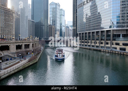River Walk in downtown Chicago, Illinois, United States - Stock Photo