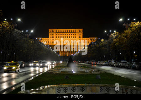 Union Boulevard and the Palace of the Parliament, the largest administrative building in the world, completed 1997, Bucharest, Romania, November 2018 - Stock Photo