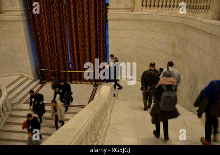 Visitors on a tour of the Palace of the Parliament, the world's largest administrative building, completed 1997, Bucharest, Romania, November 2018 - Stock Photo