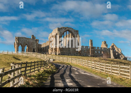 The remains of the Premonstratensian Monastery Egglestone Abbey, Barnard Castle, Teesdale, UK in winter sunshine - Stock Photo