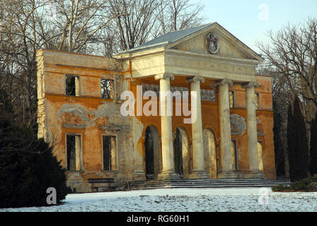 Ruins of the destroyed Habsburg Palace in the arboretum in ...