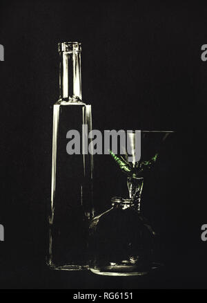 Empty bottles and a cocktail glass, poison, murder concept. Backlit so black background, artistic texture applied. - Stock Photo
