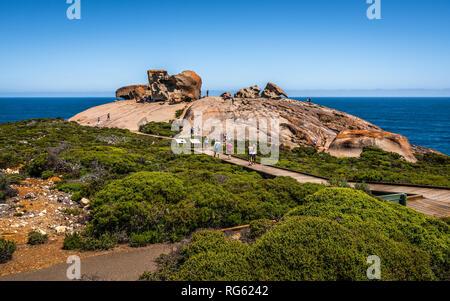Remarkable rocks panorama view on Kangaroo island in SA Australia - Stock Photo