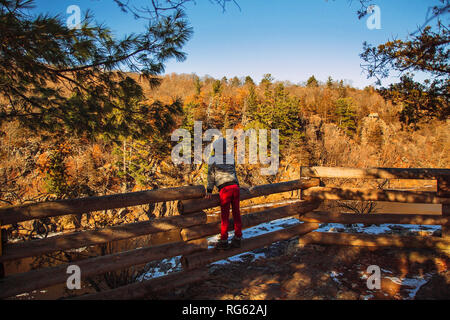 Boy leaning on a wooden fence in winter, United States - Stock Photo