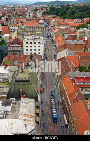 ZAGREB, CROATIA - JUNE 12, 2013: View of Ilica, the longest street in the center of Zagreb - Stock Photo