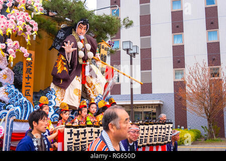 Iwate , Japan - April 22 2018: Unidentified group of people rehearse a traditional April festival at Kitakami station - Stock Photo