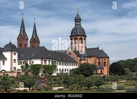 monastery seligenstadt (basilica of saint marcellinus and peter) and garden - Stock Photo
