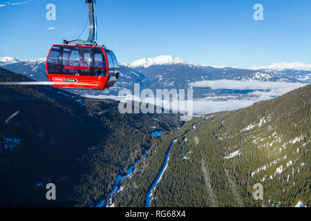 WHISTLER, BC, CANADA - JAN 14, 2019: The Peak 2 Peak connects Blackcomb and Whistler and is the longest free span gondola in the world. - Stock Photo