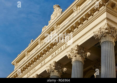 Spanish stock exchange building facade in downtown financial Madrid. Spain - Stock Photo