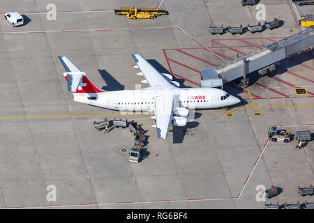 Stuttgart, Germany – September 2, 2016: Swiss Air Lines BAE Systems Avro 146-RJ100 airplane at Stuttgart airport (STR) in Germany. | usage worldwide - Stock Photo