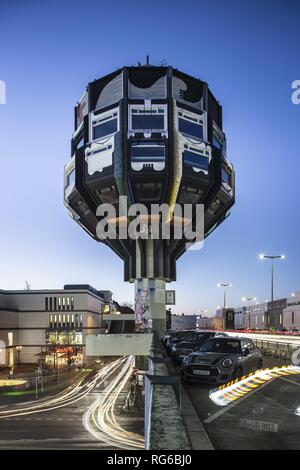 14.01.2019. Germany, Berlin: The 47 Meter high 'Bierpinsel' (beer brush) Tower in Berlin's Steglitz district . The Pop-Art building was designed by architects Ralf Schüler and Ursulina Schüler-Witte and built in 1976. (long-term exposure)   usage worldwide - Stock Photo