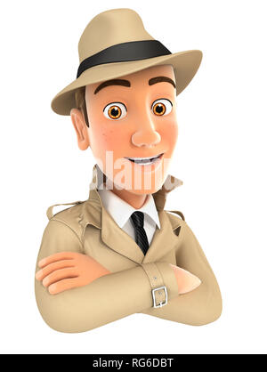 3d detective with arms crossed, illustration with isolated white background - Stock Photo