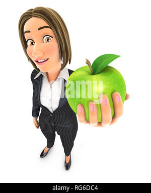 3d business woman holding green apple, illustration with isolated white background - Stock Photo