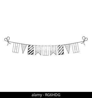 Decorations bunting flags for Honduras national day holiday in black outline flat design. Independence day or National day holiday concept. - Stock Photo