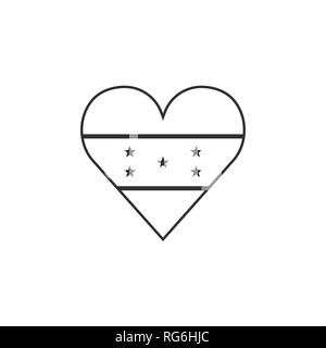 Honduras flag icon in a heart shape in black outline flat design. Independence day or National day holiday concept. - Stock Photo