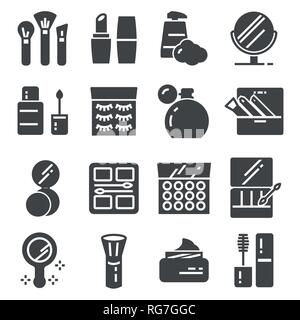 Cosmetics Related Vector Icons Set. Cream Bottle, Lipstick, Makeup Brush and more - Stock Photo