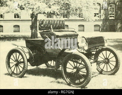 . Bulletin - United States National Museum. Science. OLDSMOBILE GASOLINE AUTOMOBILE, 1903 Bequest of Thomas A. Peabody in 1944 (USNM 312854) One of the most popular cars in its day was the light, low-priced, curved-dash Oldsmobile runabout (fig. 82). Produced from 1901 to 1906, with only minor changes in design, it was known for economy of operation, quietness, and smooth performance, despite its large, 1-cylinder engine. The price was $650, at the Olds Motor Works in Detroit, Mich. The engine, of 41//2-inch bore and 6-inch stroke, ran at a maximum speed of a little over 700 revolutions per mi - Stock Photo