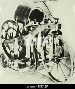 . Bulletin - United States National Museum. Science. satisfactorily. It is, unfortunately, no longer in existence. Marcus' second automobile (fig. 11) was constructed in 1875 and is preserved at the Technisches Museum fur In- dustrie und Gewerbe in Vienna. It is powered with a horizontal, 1-cylinder, 4-cycle, %-horsepower, internal- combustion engine using liquid fuel and electric ignition. Seating four passengers on two crosswise seats, it is sup- ported on four wooden-spoked wheels and is guided by means of a steering wheel. It is reported to have been operated on the streets of Vienna in th - Stock Photo