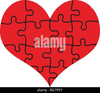 Red Heart Assembled of Puzzle Pieces Isolated on White Background. Love, Marriage, Charity. Flat Design. Jigsaw with All Pieces Put Together Forming B - Stock Photo