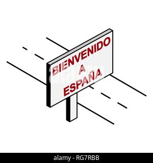 Billboard on the road with the inscription welcome to Spain, Spanish language - Stock Photo