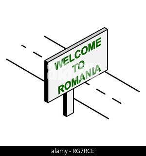 Billboard on the road with the inscription welcome to Romania - Stock Photo