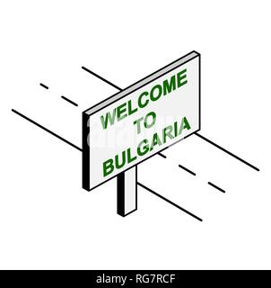 Billboard on the road with the inscription welcome to Bulgaria - Stock Photo