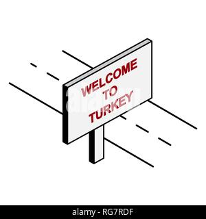 Billboard on the road with the inscription welcome to Turkey - Stock Photo