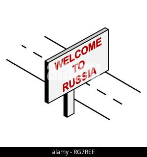 Billboard on the road with the inscription welcome to Russia - Stock Photo