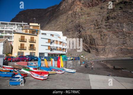 Beach, harbour, Playa de Vueltas, Valle Gran Rey, La Gomera, Canary Islands, Spain, Europe, Strand, Hafen, Playa de Vueltas, Valle Gran Rey, La Gomera - Stock Photo