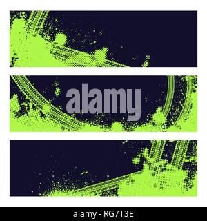 Set of three green color tire track banners with halftone pattern - Stock Photo