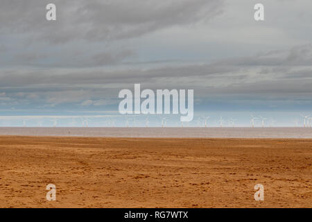 Offshore Wind Turbines on the Lincolnshire Coastline near Skegness - Stock Photo