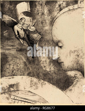 L'Art Celeste (The Celestial Art). Dated: 1894. Dimensions: image: 31.5 x 25.9 cm (12 3/8 x 10 3/16 in.)  sheet: 50.8 x 39.6 cm (20 x 15 9/16 in.). Medium: lithograph. Museum: National Gallery of Art, Washington DC. Author: Odilon Redon. - Stock Photo