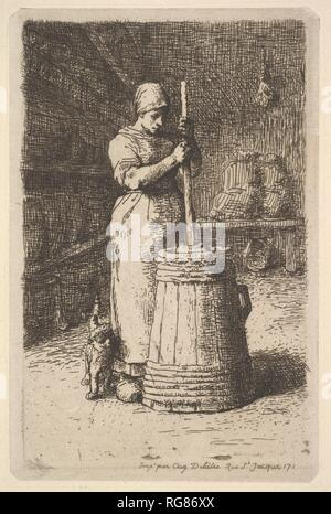Woman Churning Butter. Artist: Jean-François Millet (French, Gruchy 1814-1875 Barbizon). Dimensions: plate: 7 3/16 x 4 3/4 in. (18.2 x 12 cm)  sheet: 12 5/8 x 9 3/4 in. (32.1 x 24.8 cm). Date: 1855-56. Museum: Metropolitan Museum of Art, New York, USA. - Stock Photo