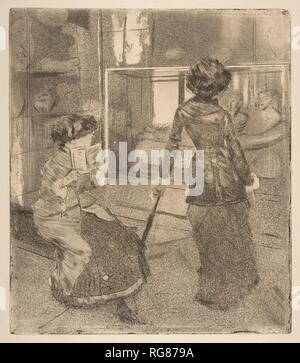 Mary Cassatt at the Louvre: The Etruscan Gallery. Artist: Edgar Degas (French, Paris 1834-1917 Paris). Dimensions: Plate: 10 9/16 x 9 1/8 in. (26.8 x 23.2 cm)  Sheet: 17 x 12 in. (43.2 x 30.5 cm). Sitter: Portrait of Mary Cassatt (American, Pittsburgh, Pennsylvania 1844-1926 Le Mesnil-Théribus, Oise) and her sister, Lydia. Date: 1879-80.  Among the most technically complex of Degas' prints, this view of Mary Cassatt and her sister in the galleries of the Musée du Louvre was intended, like Pissarro's Wooded Landscape at L'Hermitage, Pontoise (21.46.1), to appear in the first issue of the prospe - Stock Photo