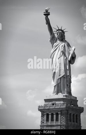 Statue of Liberty in New York City, United States. Black and white tone - retro monochrome color style. - Stock Photo