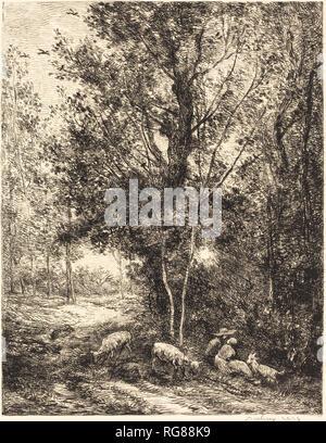 Shepherd and Shepherdess (Le Berger et la bergere). Dated: 1874. Medium: etching. Museum: National Gallery of Art, Washington DC. Author: Charles-Francois Daubigny. Charles Francois Daubigny. - Stock Photo