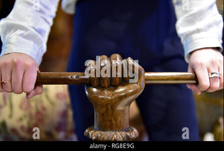 Bonhams, Knightsbridge, London, UK. 28 January, 2019. Bonhams annual Gentleman's Library Sale is filled with intriguing objects from furniture to silverware, carpets to globes - nothing which would look out of place in a Victorian or Edwardian Gentleman's library, including this wooden towel rail. Credit: Malcolm Park/Alamy Live News - Stock Photo