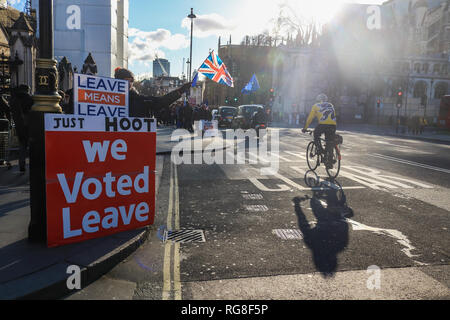 London, UK. 28th Jan, 2019. Pro Leave protesters outside Parliament as Members of Parliament prepare to Debate several amendments to delay Article 50 and prevent a No Deal Brexit Credit: amer ghazzal/Alamy Live News - Stock Photo