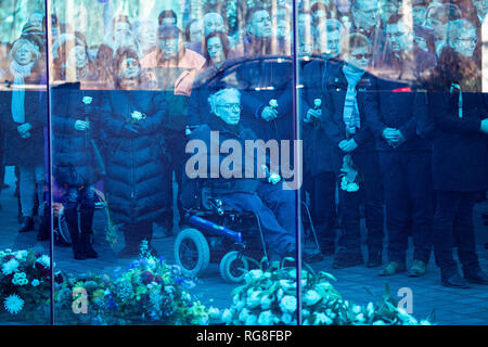 January 28, 2019 - Berlin, Berlin, Germany - Wreath-laying ceremony in commemoration of the victims of the euthanasia commited by the Nazis durin the Second World War at the monument for the victims of euthanasia in Berlin, Germany, Januarty 28, 2019. (Credit Image: © Omer Messinger/ZUMA Wire) - Stock Photo