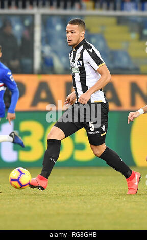 "Foto LaPresse - Tano Pecoraro 26 01 2019 Genova - (Italia) Sport Calcio Sampdoria vs Udinese Campionato di Calcio Serie A TIM 2018/2019 - Stadio ""Luigi Ferraris"" nella foto: ekong william  Photo LaPresse - Tano Pecoraro 26 January 2019 City Genova - (Italy) Sport Soccer Sampdoria vs Udinese Italian Football Championship League A TIM 2018/2019 - ""Luigi Ferraris"" Stadium in the pic: ekong william - Stock Photo"
