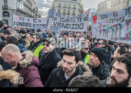 Madrid, Spain. 28th January 2019. Hundreds of taxi drivers protest againts Uber and cabify in Madrid, Puerta del sol. In the picture taxi drivers screaming leaders of governent have a deal with cabify and uber, in front of the city council of Madrid, Spain. Credit: Alberto Sibaja Ramírez/Alamy Live News - Stock Photo